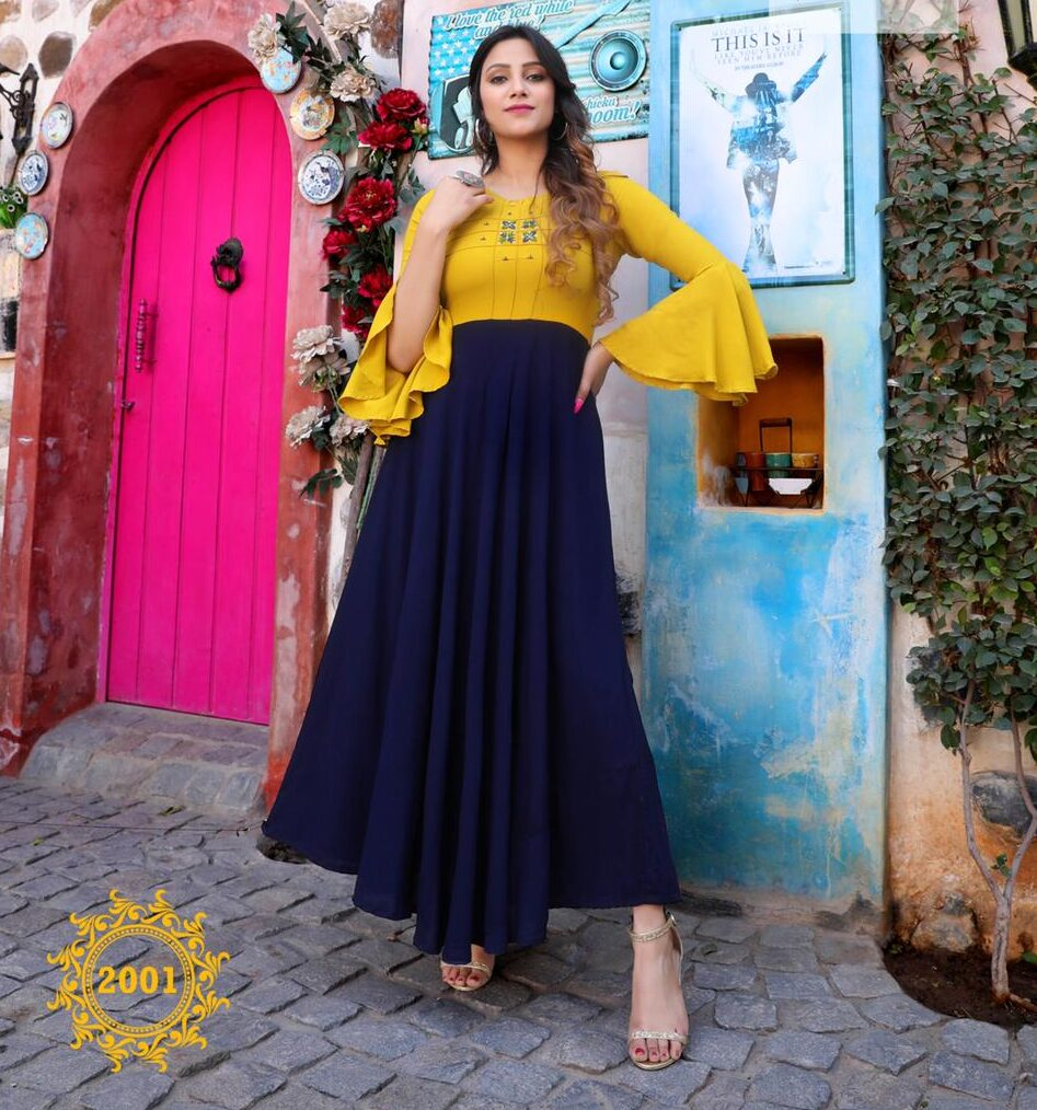 Best Trend Readymade Yellow Blue Color Frock Suit Latest Design