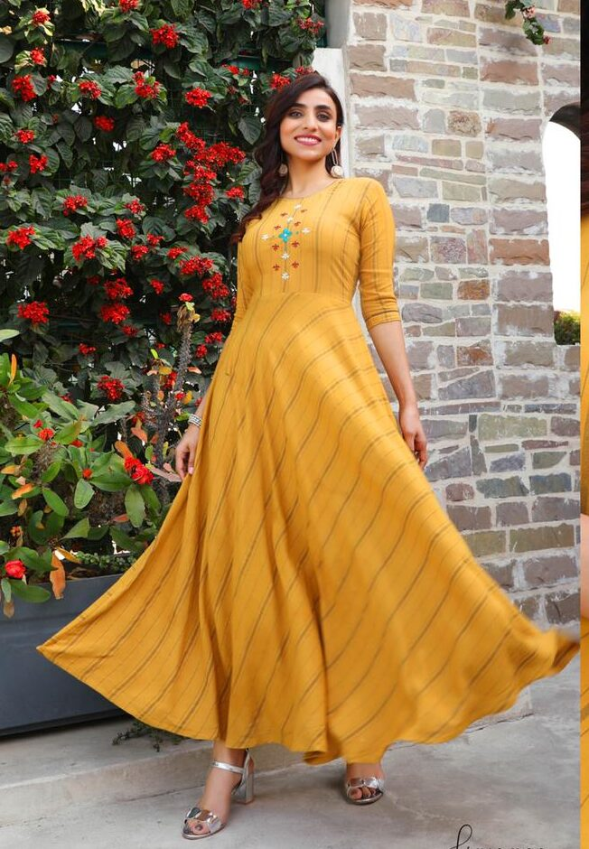 Best Trend Yellow Color Anarkali Long Kurti Design.