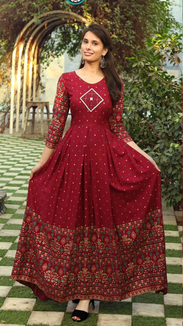 Best Trend readymade Red Color Anarkali kurti 2021.