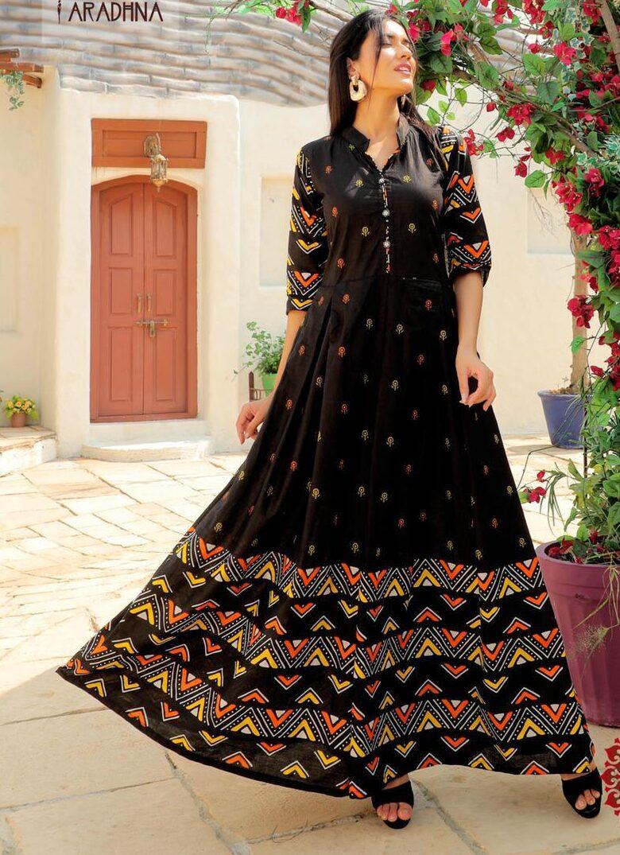 Black Colour Floral Print Designer Anarkali Frock Suit Online
