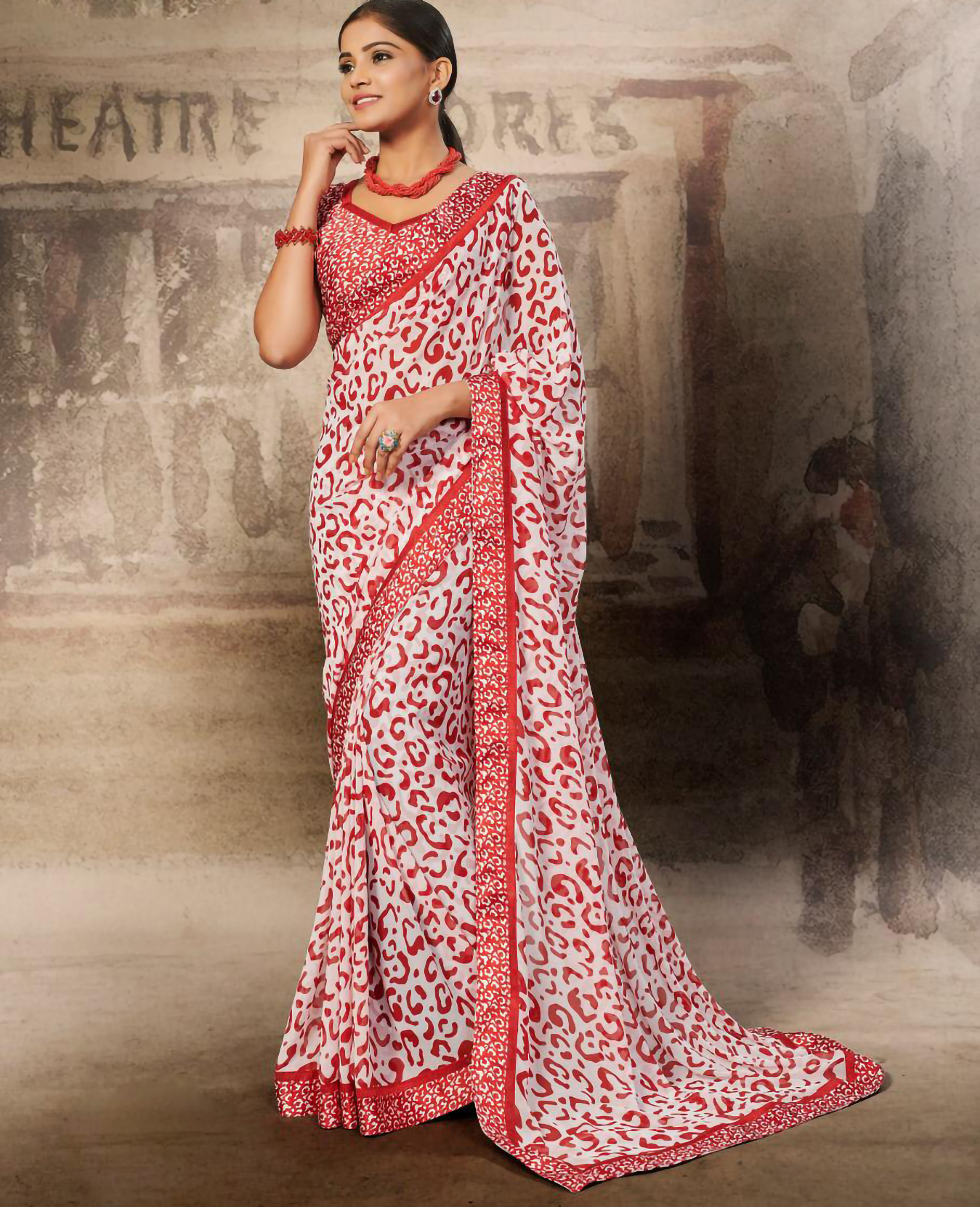 Designer Red Colour Tiger Print Saree with Price