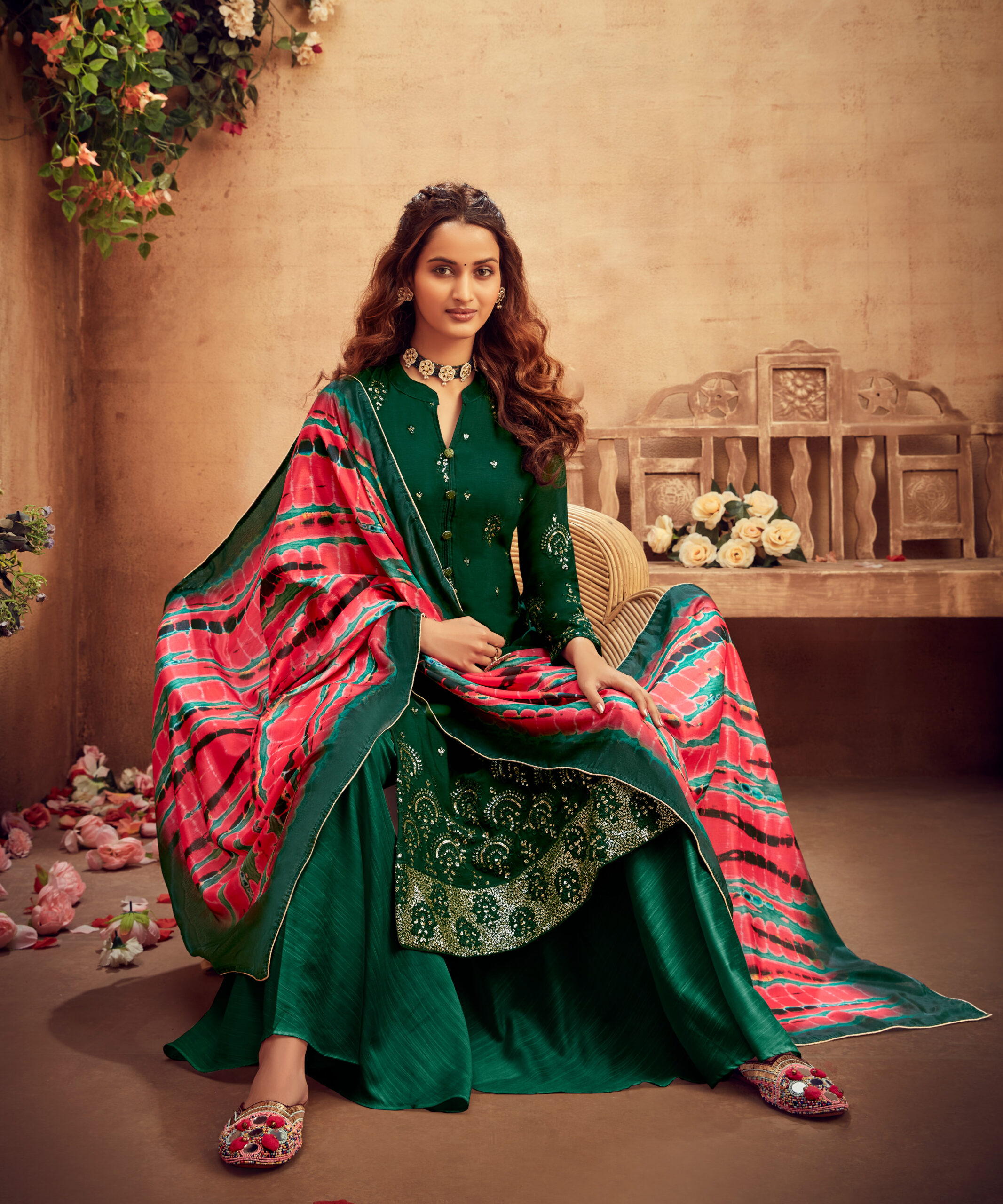 Exclusive Digital Dupatta Green Palazzo Suits Party Wear