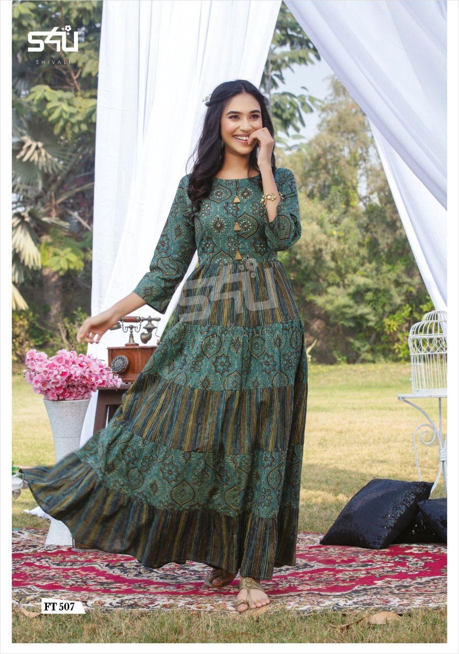 Floor Length Teal Green Kurti Designs For Female
