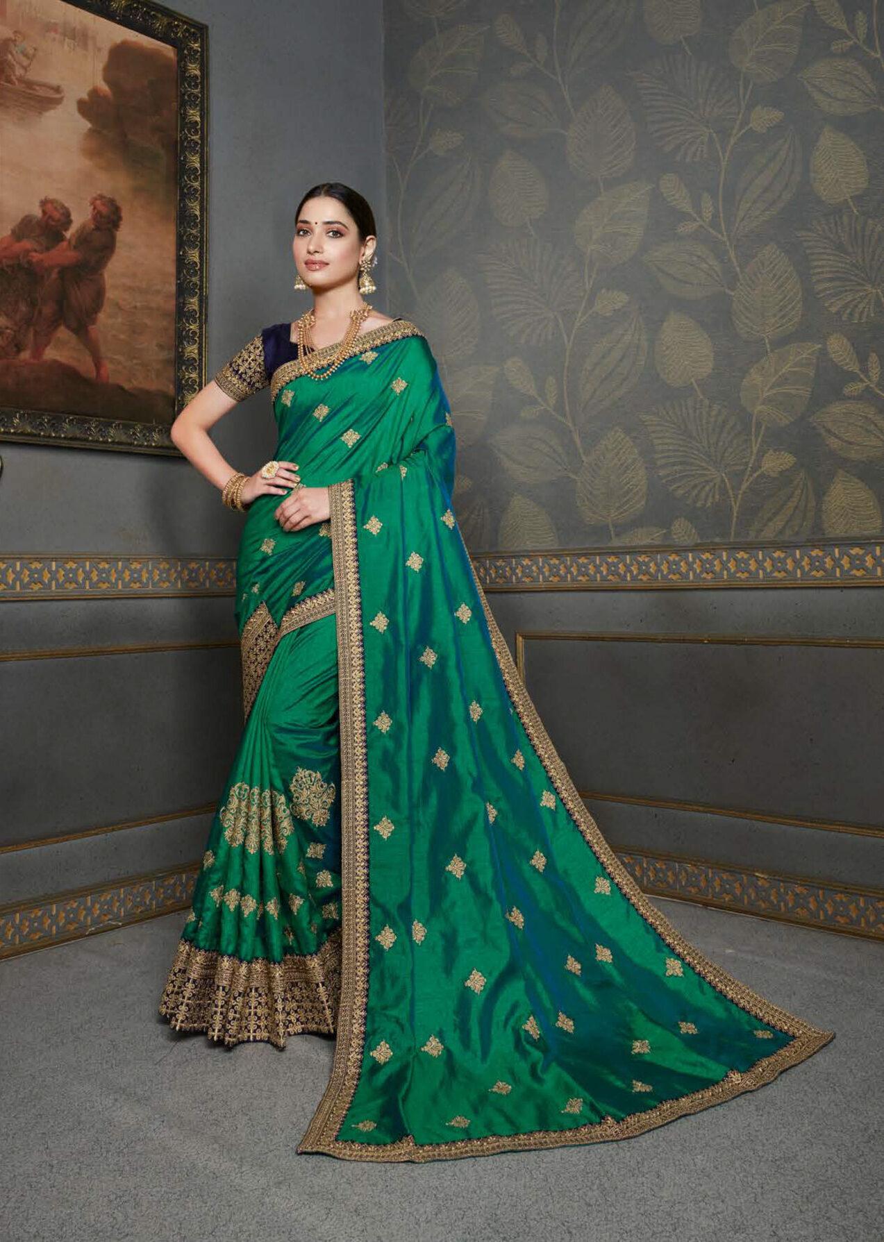 Green Colour Gold Border Party Wear Saree Latest Design