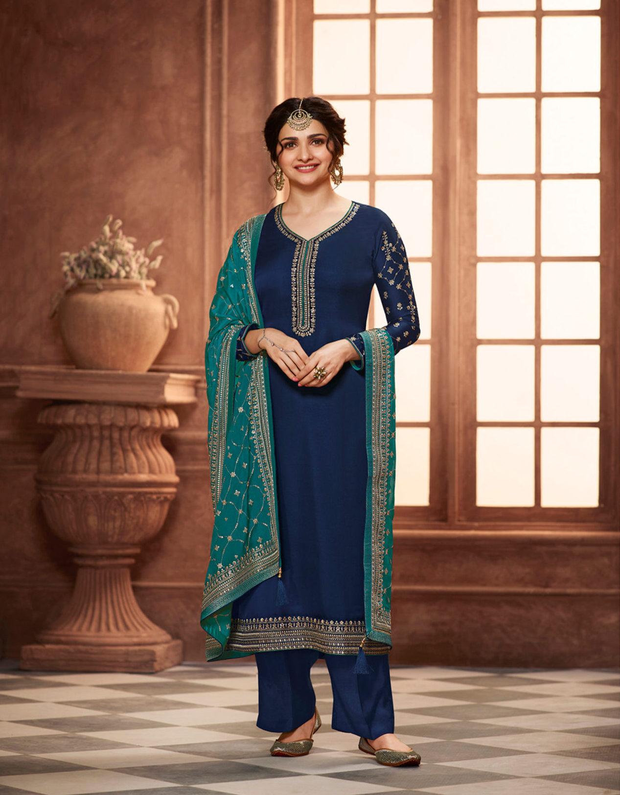 Best Embroidery Blue Color Banarsi Dupatta Suit Images