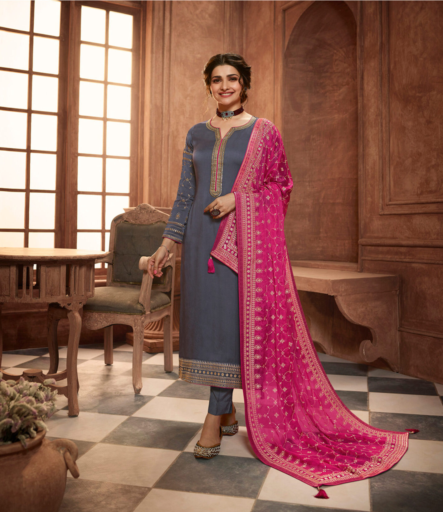 Best Embroidery Work Grey Color Heavy Suit For Marriage Punjabi
