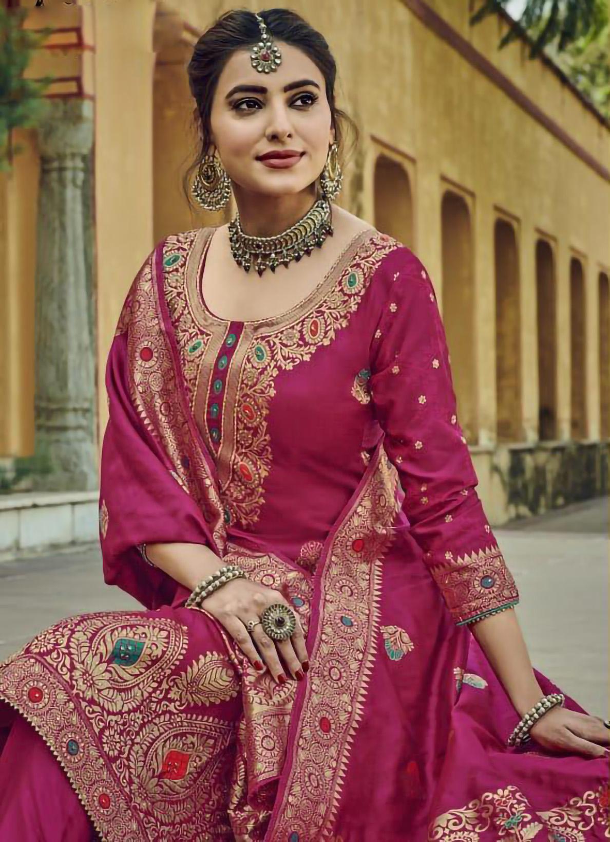 Latest Designer Magenta Banarasi Silk Suit Designs with Pants