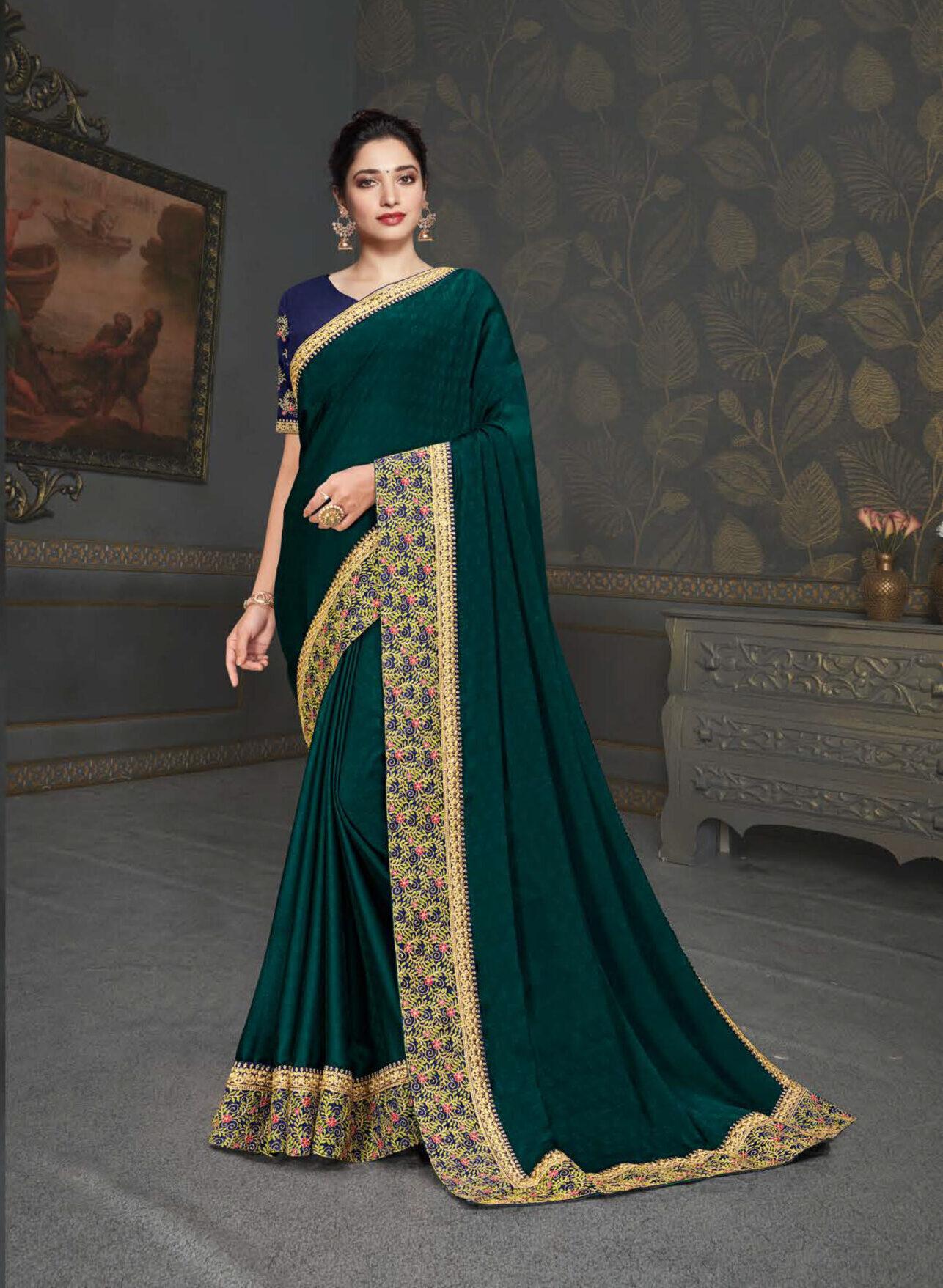 Latest Designer Wedding Party Wear Green Saree