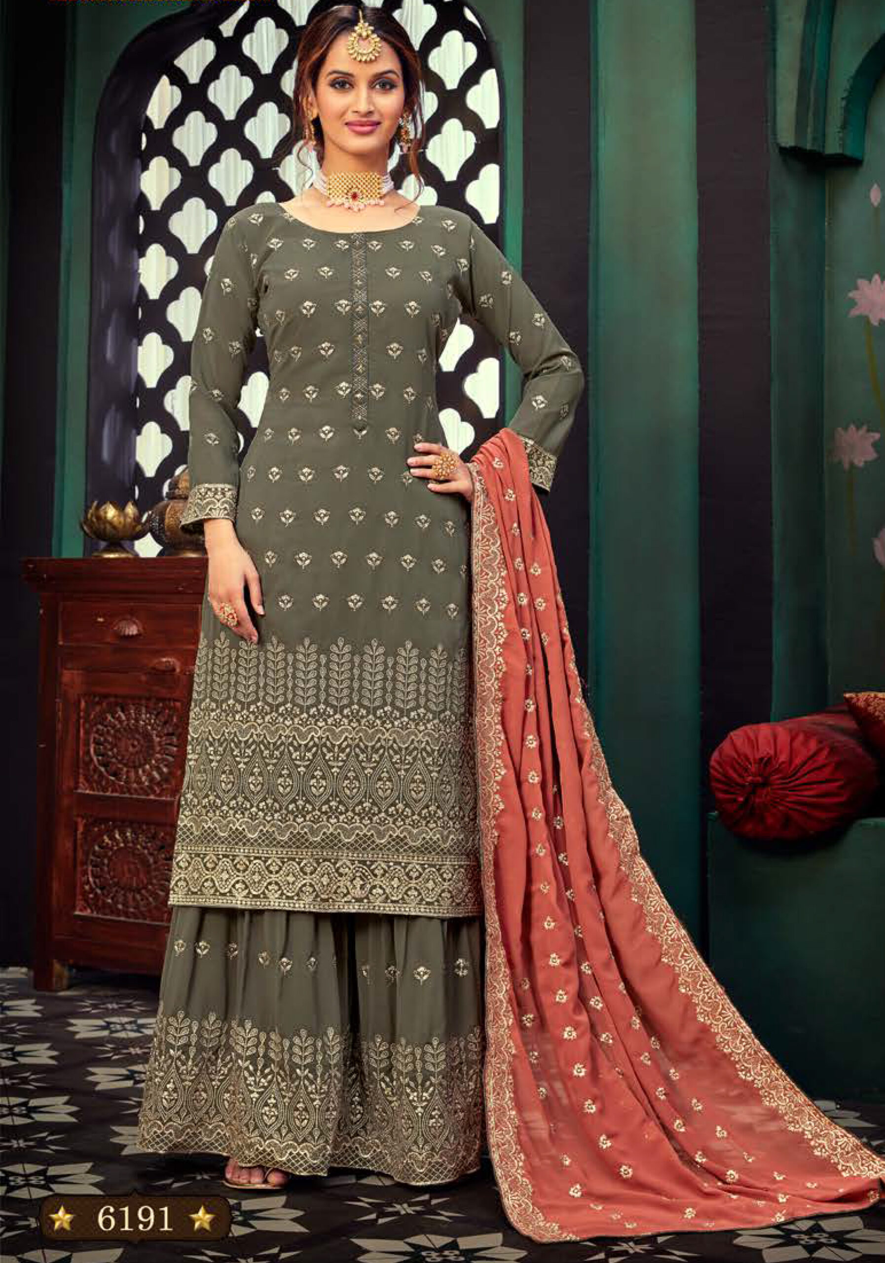 Latest Embroidered Sharara Suits for Wedding