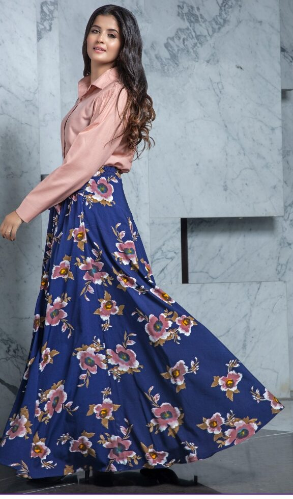 Latest Style Baby Pink Shirt Over Lehenga in Floral Blue Colour