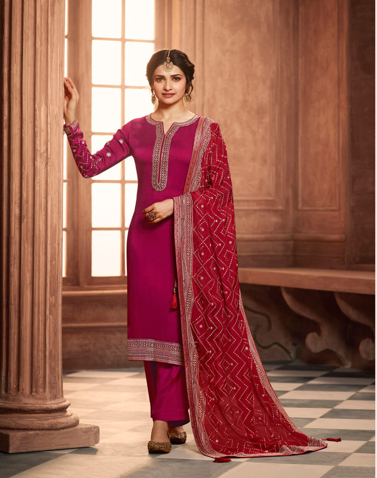 New Trend Designer Pink Color Heavy Suit With Dupatta