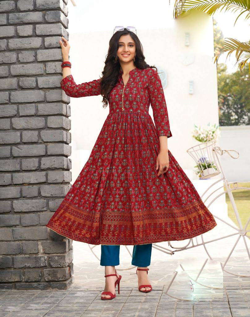 Maroon Colour Collar Neck Kurti Designs with Front Button