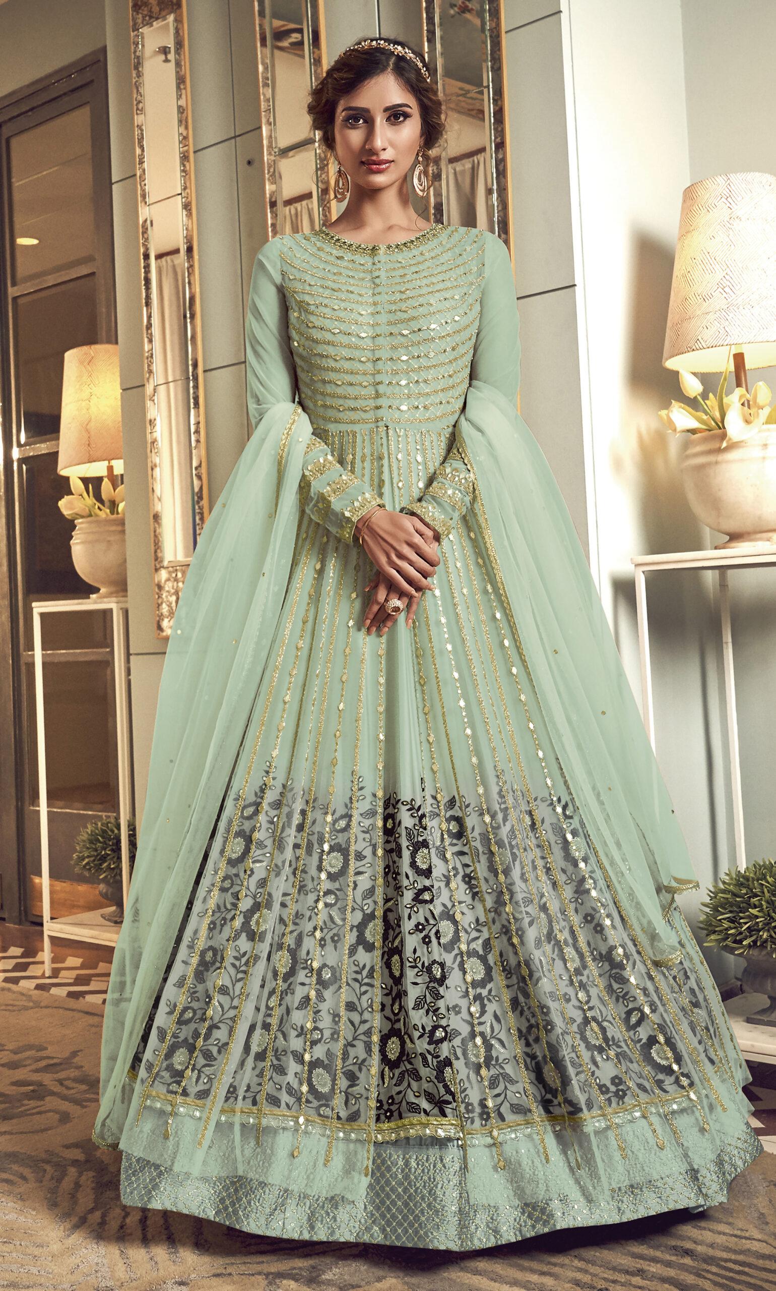 Net Fabrics Pistachio Green Anarkali Suits for Party Wear