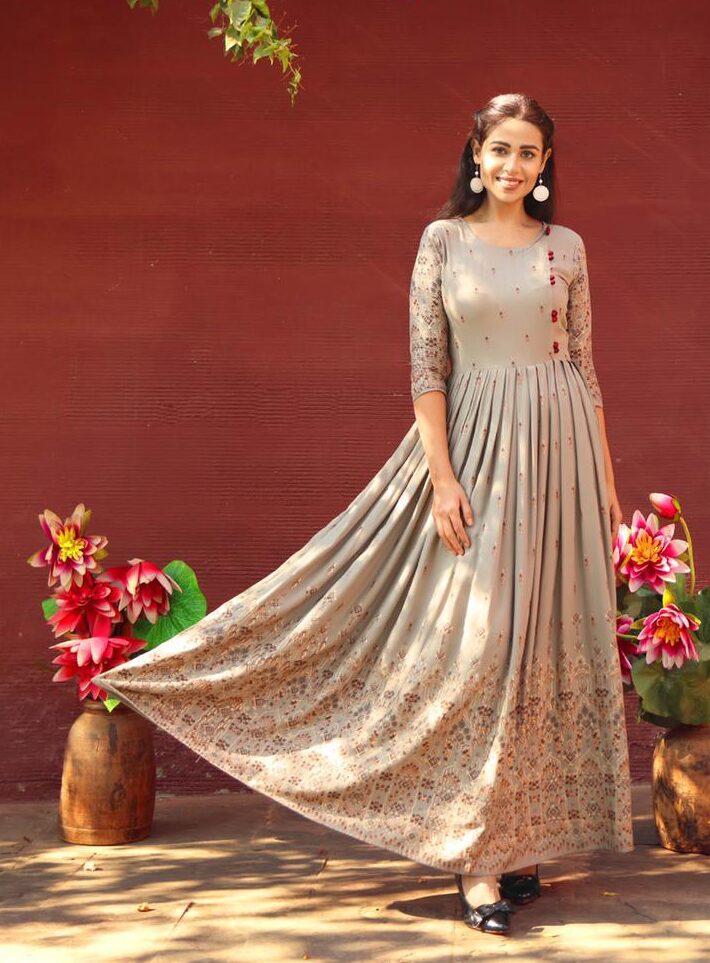 New Designer Cream Color Readymade Kurti For Wedding.