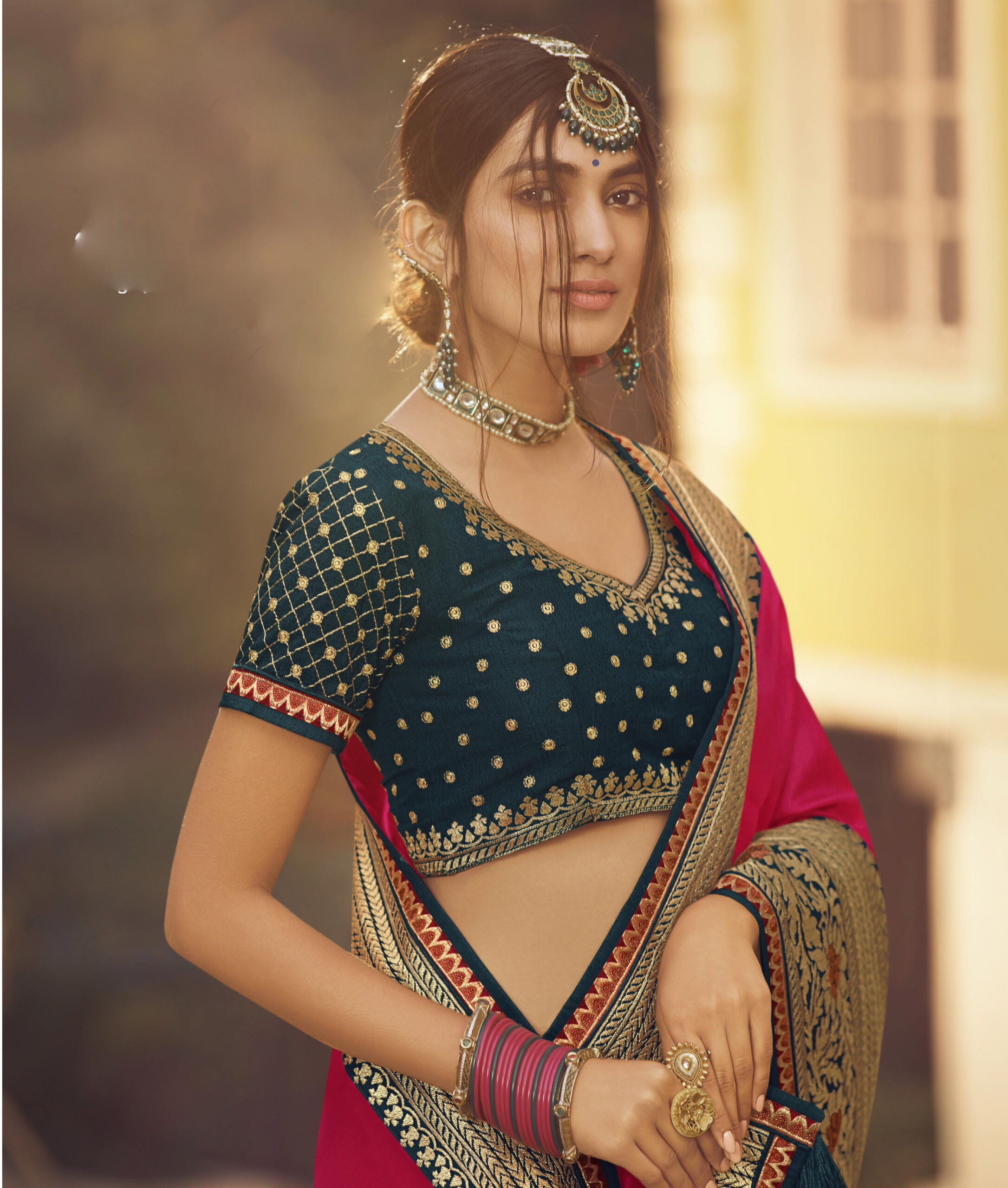 New Designer Gray with Red Color Bridal Fancy Saree Party Wear