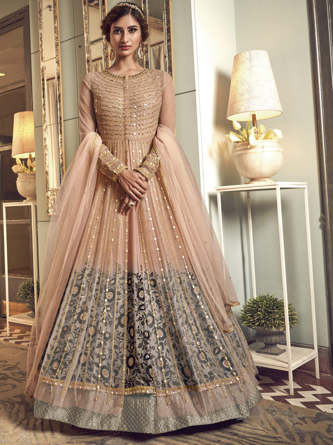 New Latest Party Wear Long Crop Gown in Peach Colour
