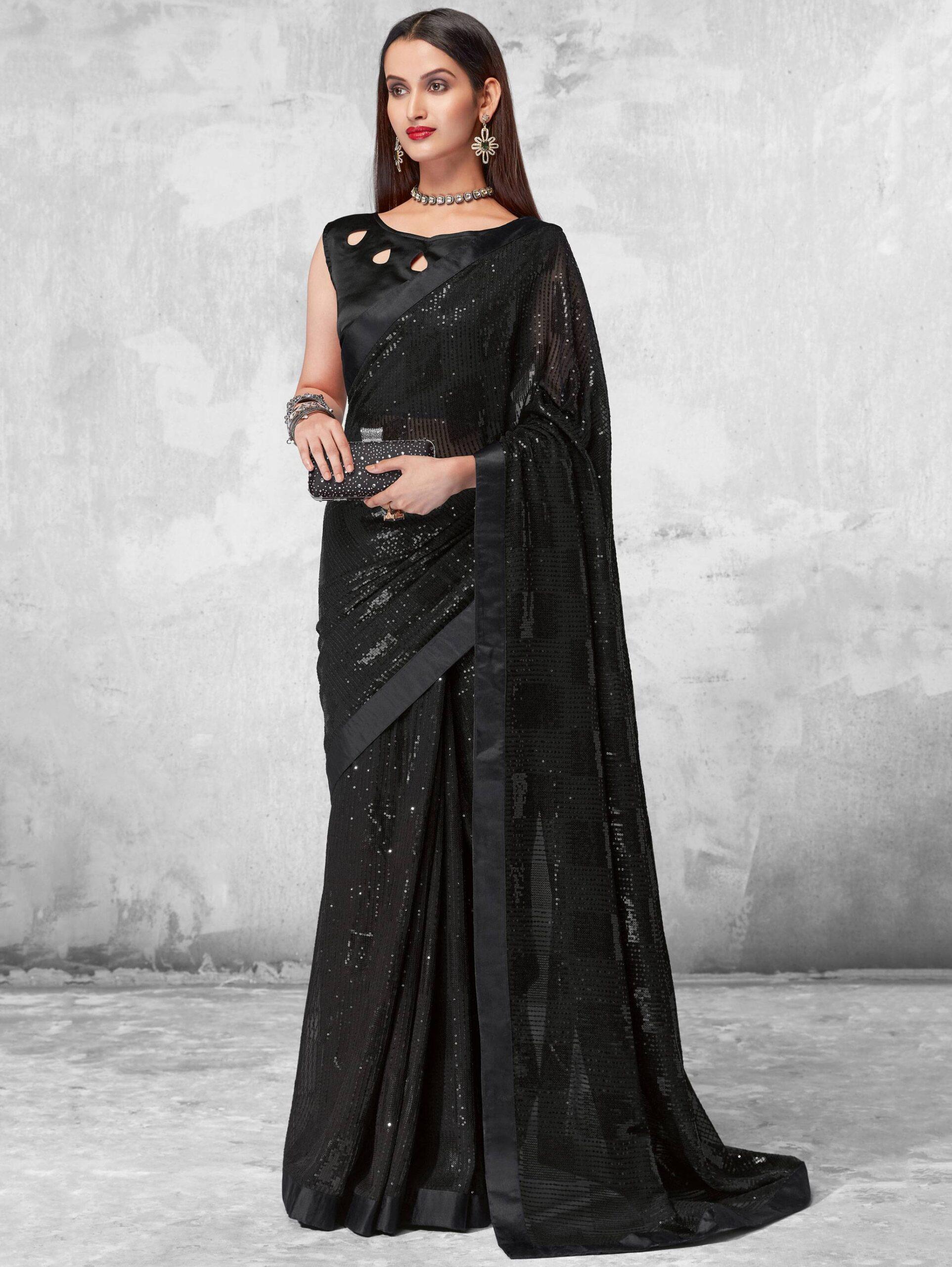 New Mode Black Color Soft Silk PartyWear Saree.