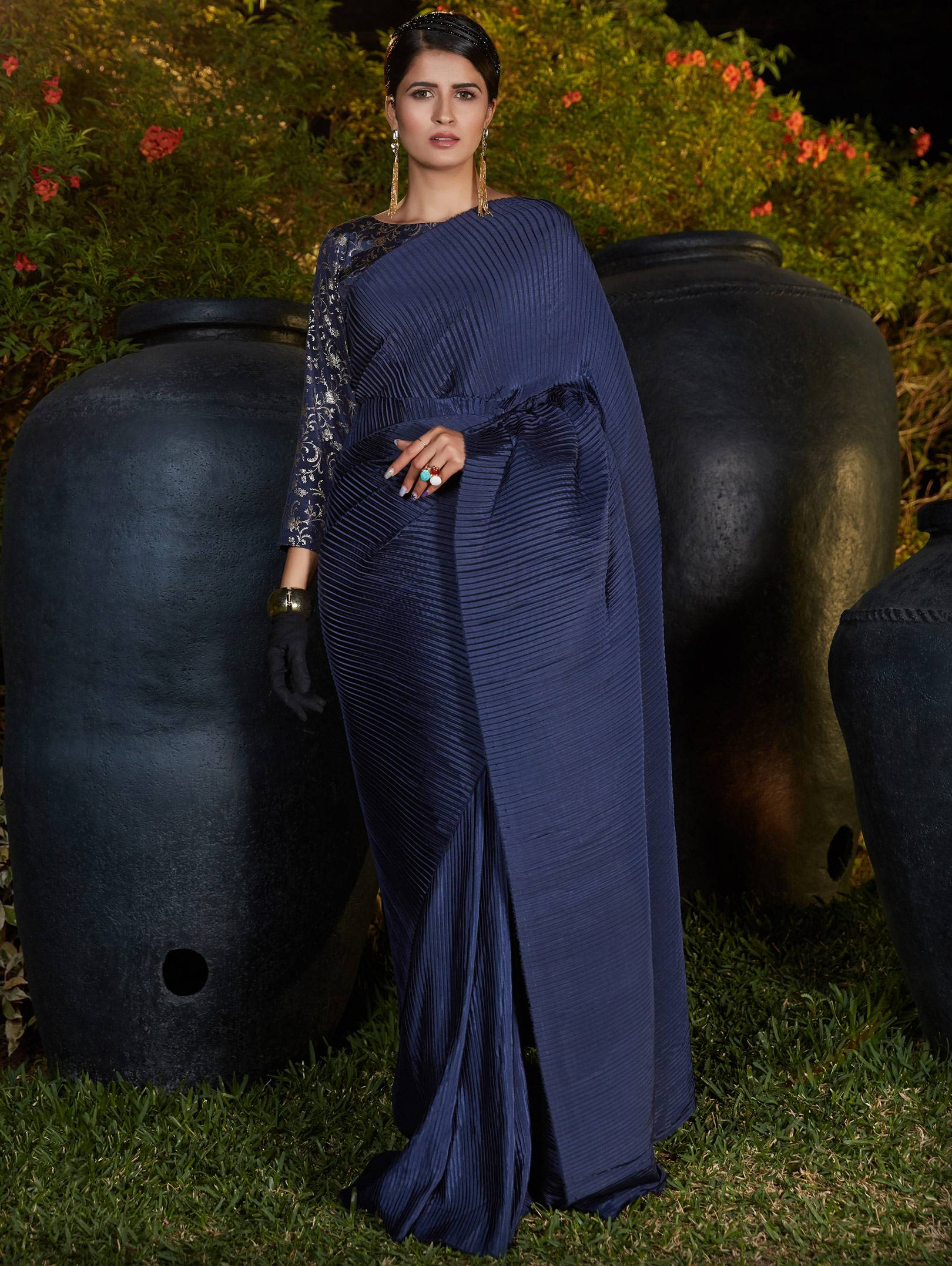 New Mode Designer Nevy Blue Color Silk Fancy Heated Pleated Saree