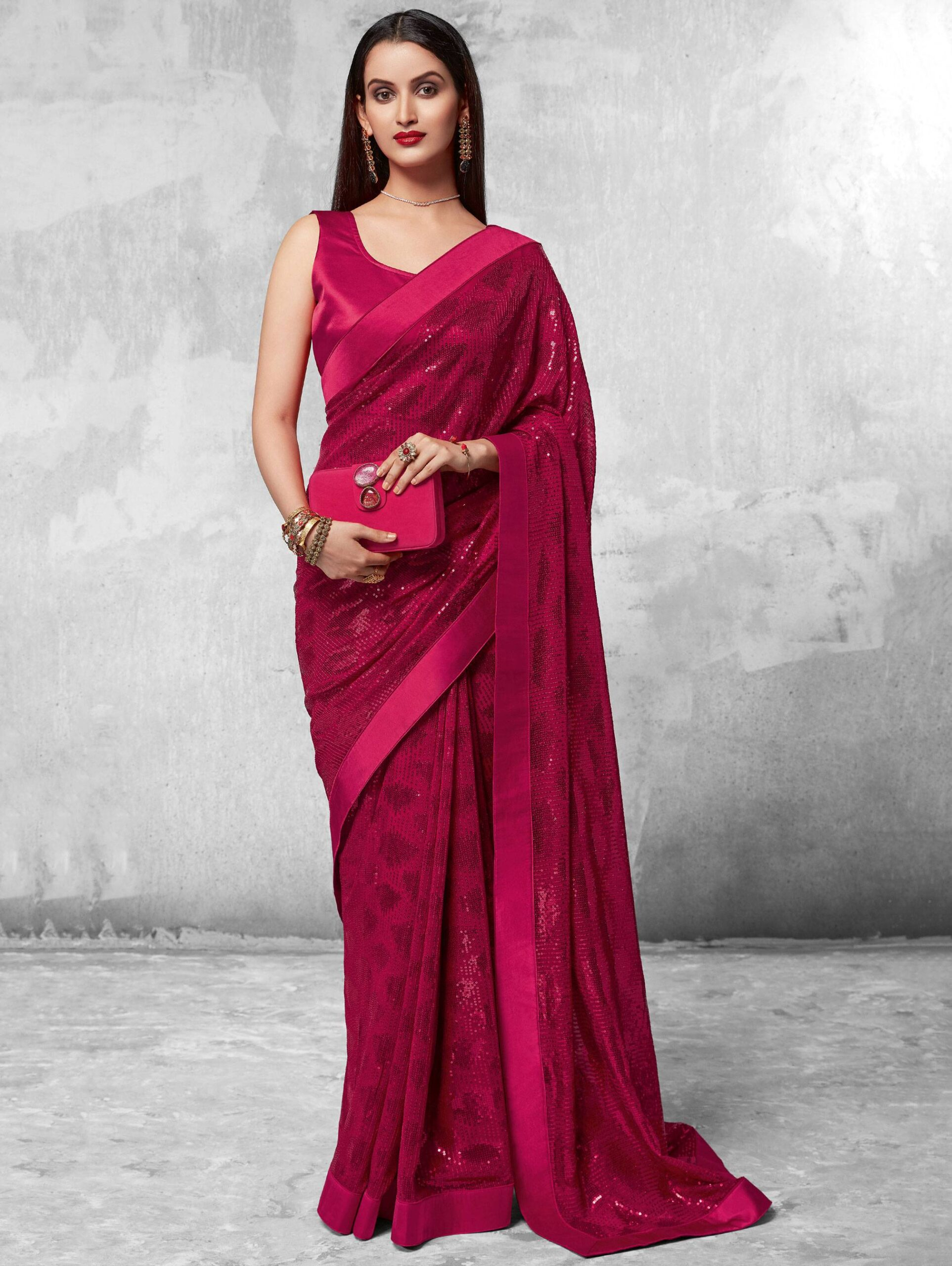 New Mode Pink Color Bollywood Designer Partywear Saree.