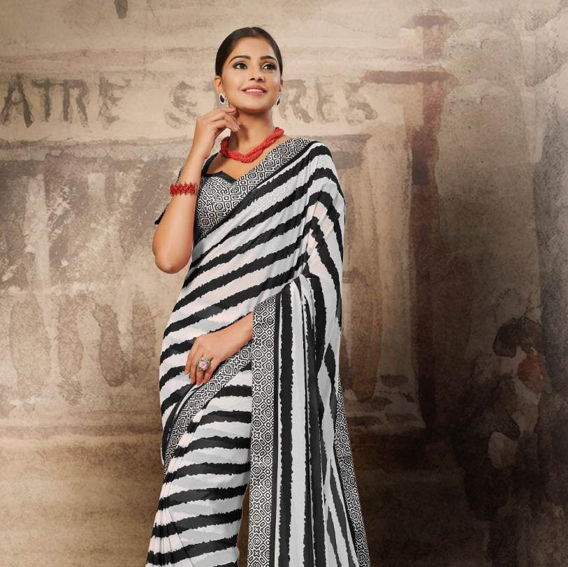 New Soft Georgette Designer Saree Online Shopping With Price