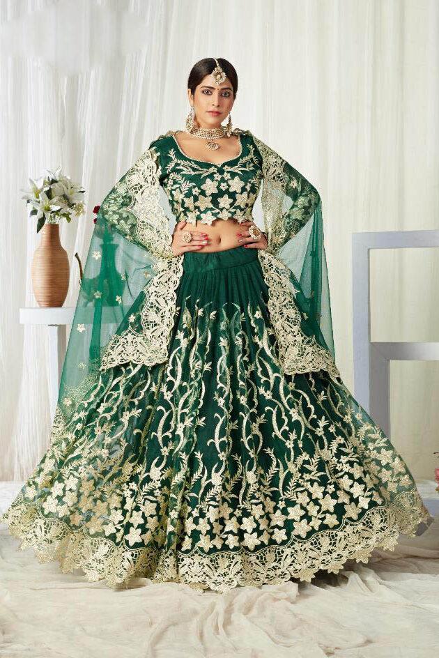 New Trend Designer Green Color Latest Lehenga Design 2021 For Girls