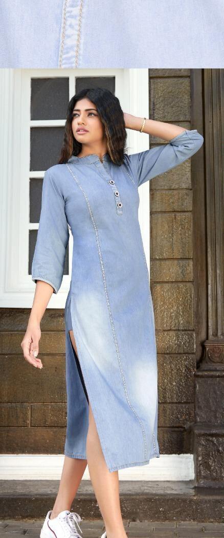 New Trend Designer Light Blue Color Denim Kurti Design