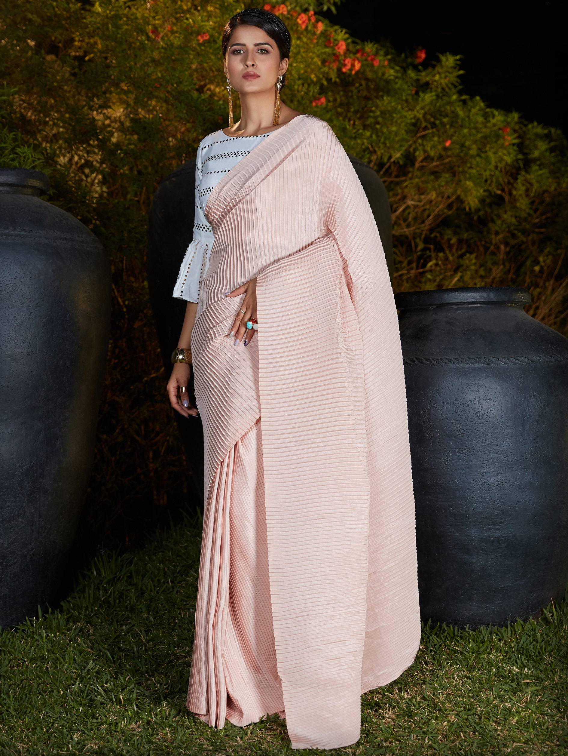 New Trend Designer Light Pink Color Soft Saree With A Price.