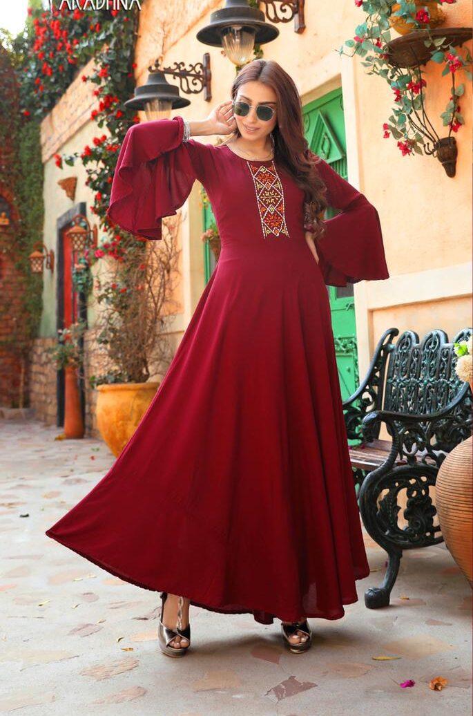 New Trend Designer Red Color Design For Anarkali Suit.