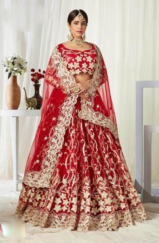 New Trend Designer Red Color Latest Lehenga For Bridal.