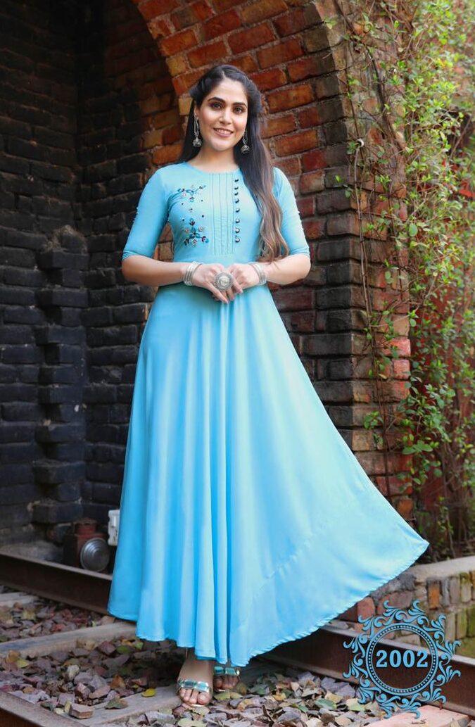 New Trend Designer Sky-Blue Color Anarkali Kurti Design Images.