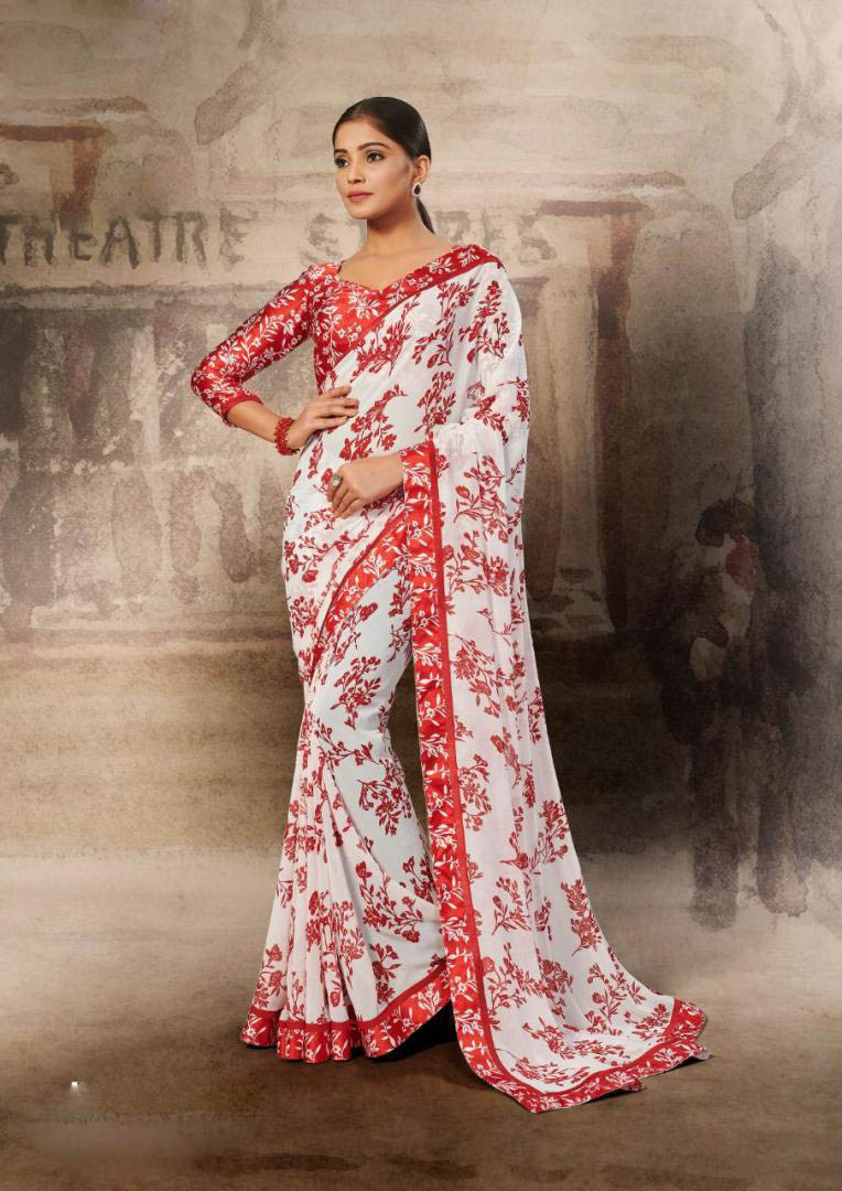 New Trend Soft Georgette White-Red Color Designer Saree For Girls.