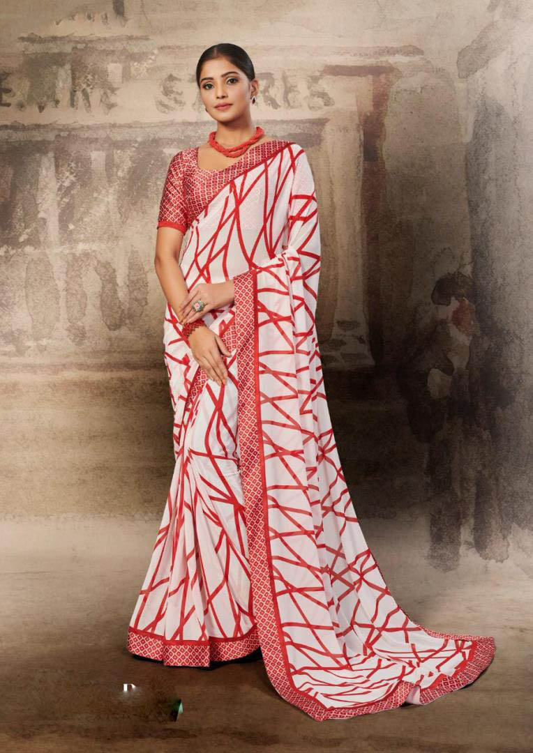 New White-Red Color Soft Georgette Designer Saree For Women