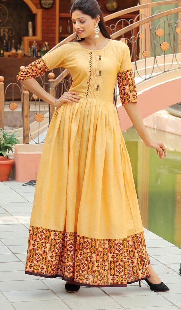 Yellow Colour Cotton From Kurti Design 2021