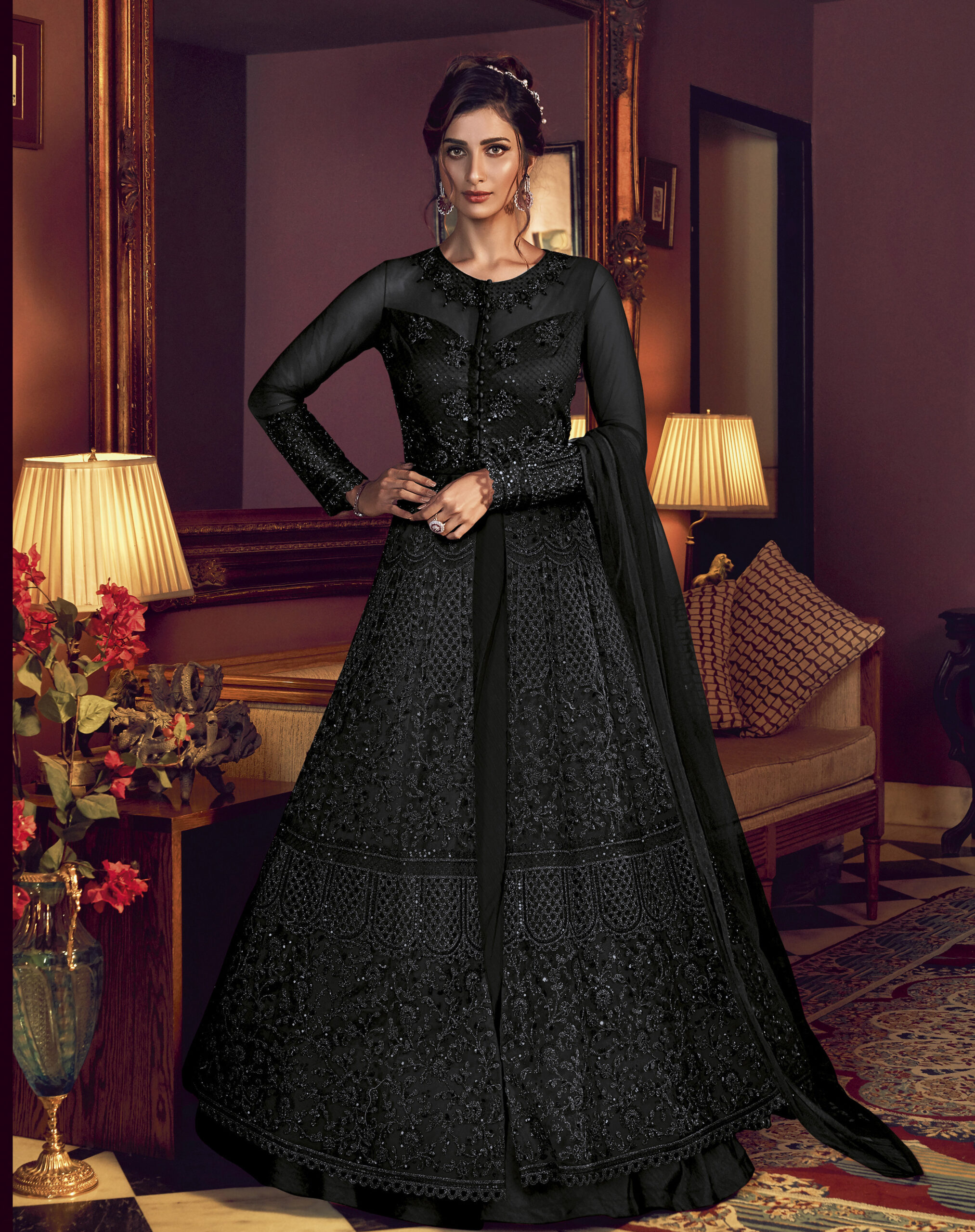Black Gown for Party Net with Dupatta