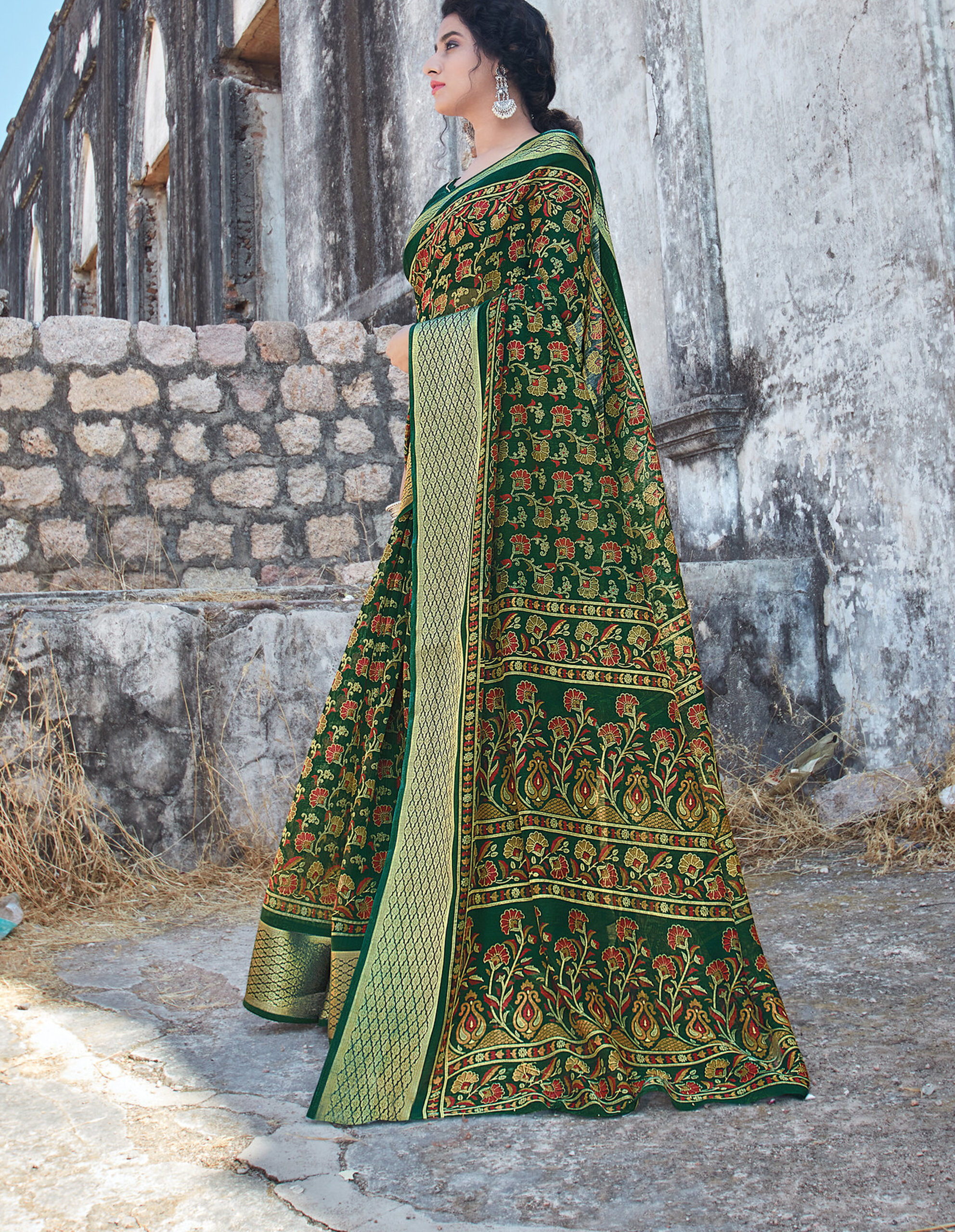 Best Printed Work Green Color Blouse Design For Cotton Saree