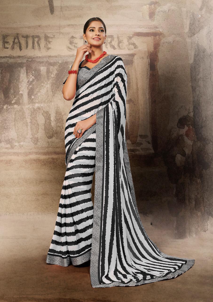 latest Designer Kajol Style Zebra Print Saree