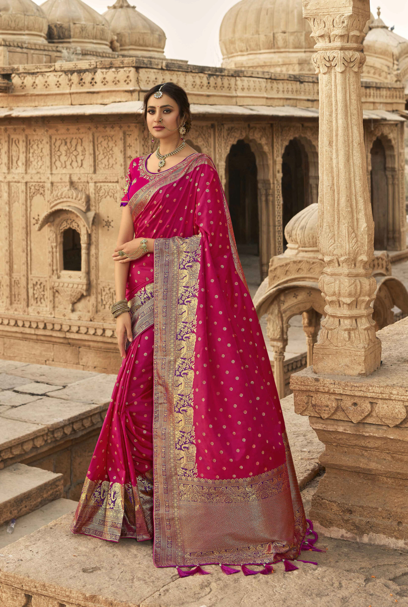 latest magenta silk saree for engagement with price