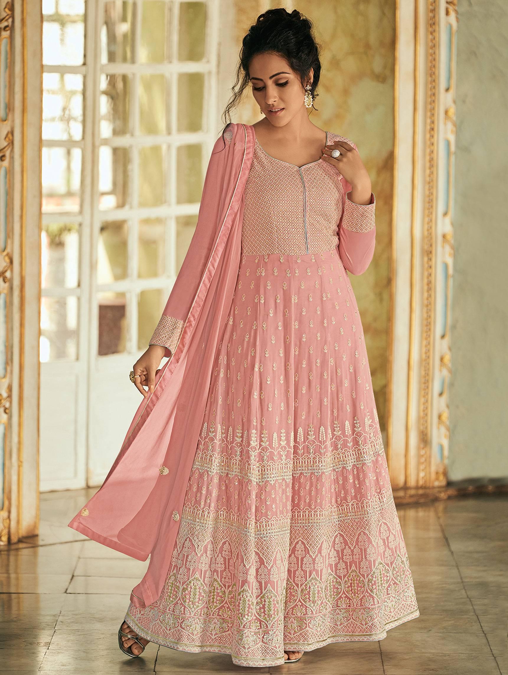 Best Mode Designer Light Pink Color Partywear Anarkali Suit.