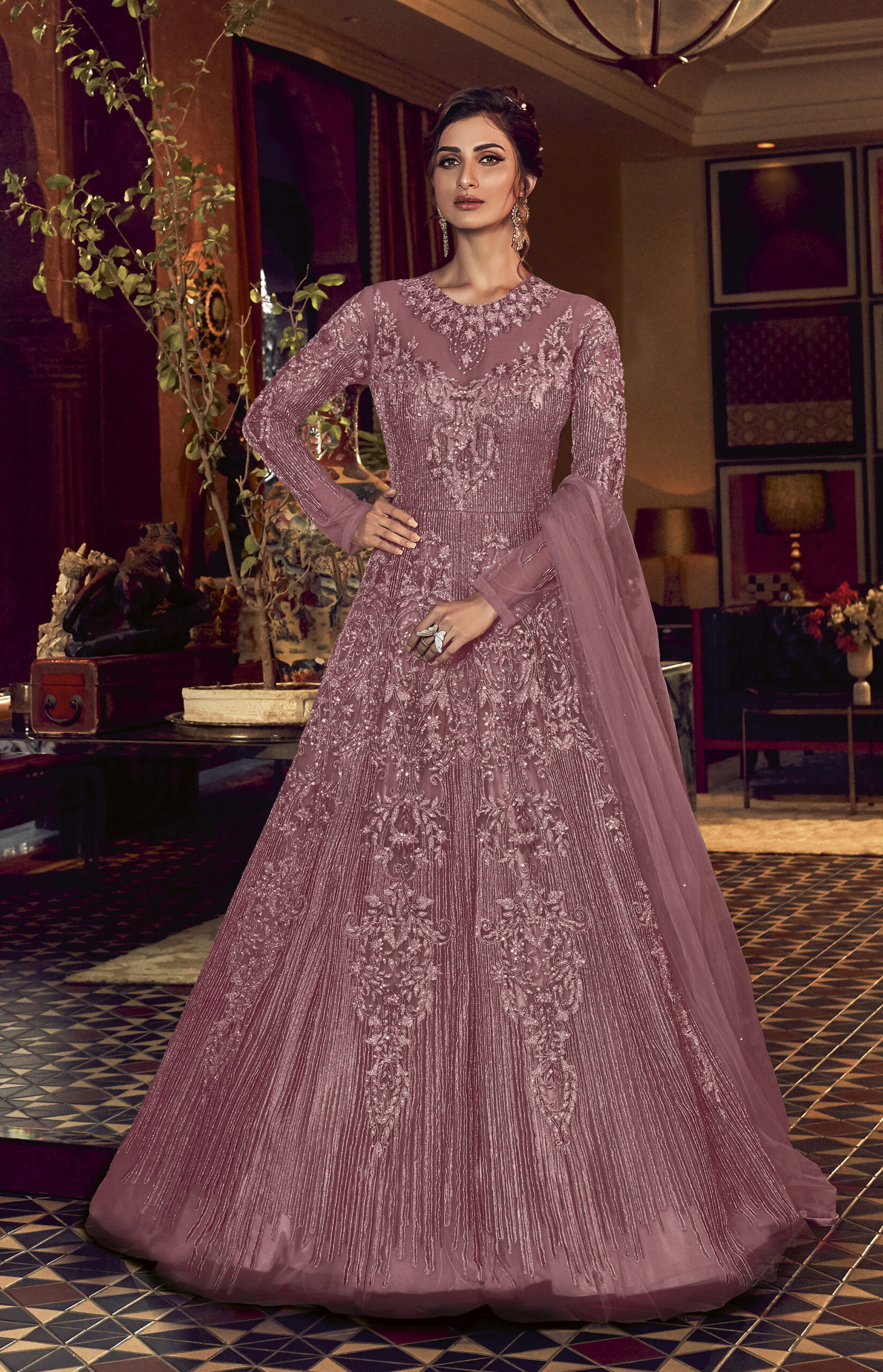 Purple New Latest Party Wear Long Crop Gown Net Gowns for Party