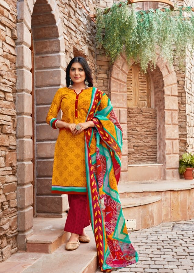 red and yellow combination pure cotton suits with cotton dupatta