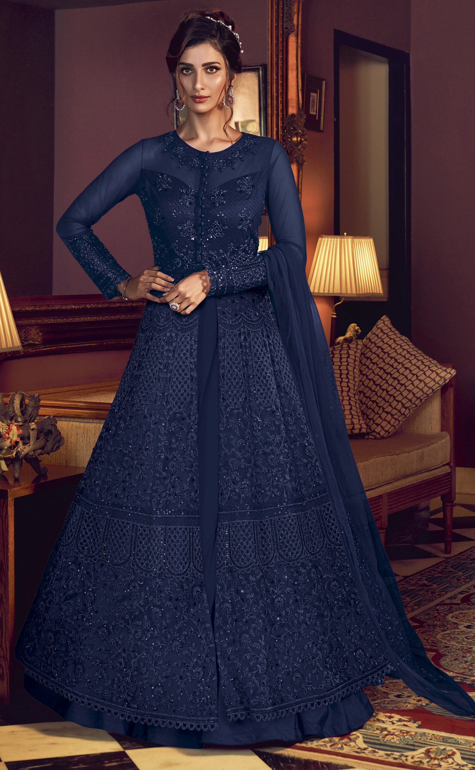 Royal Blue Gown Designs Party Wear