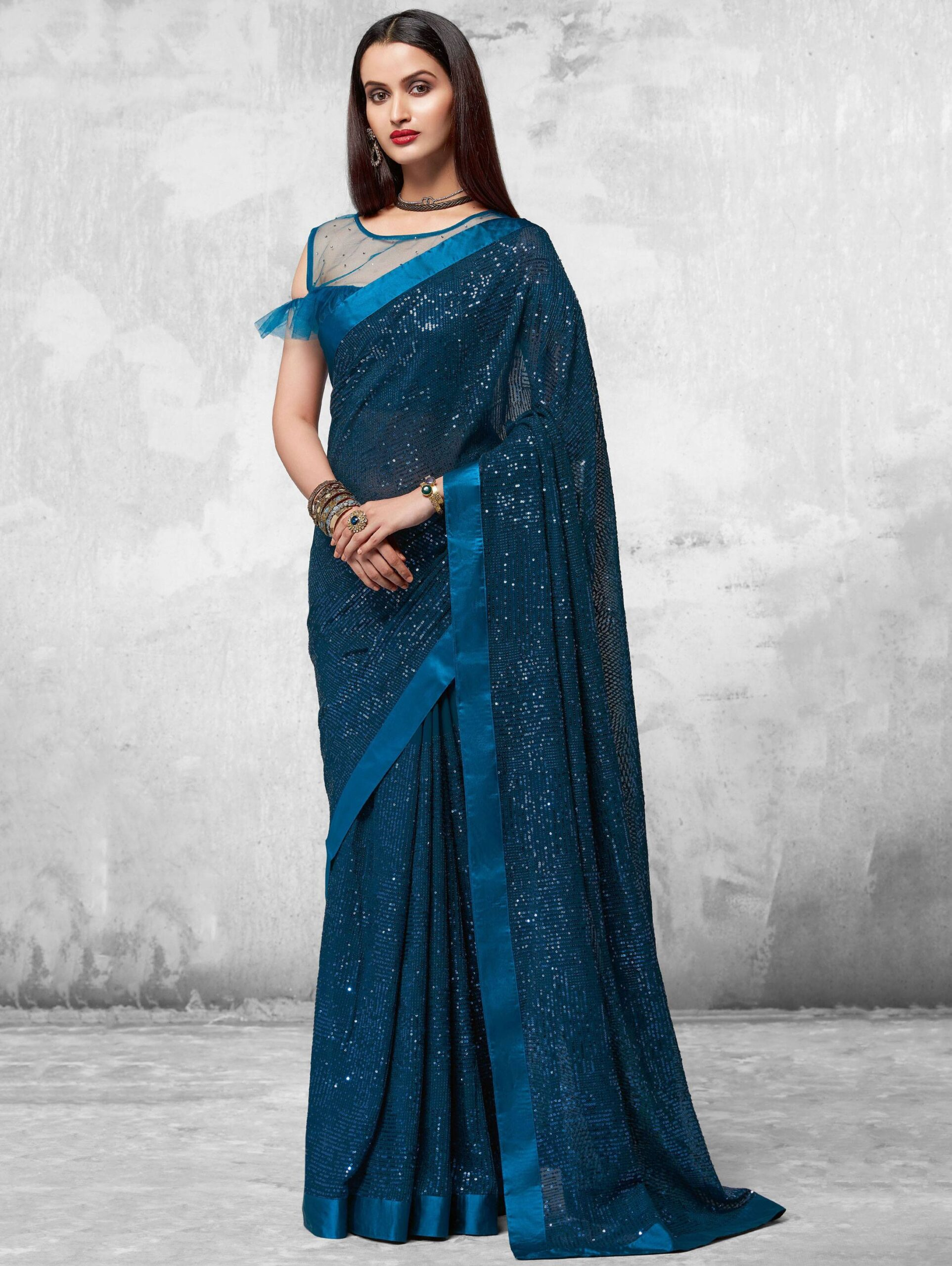 Best Blue Color Partywear Saree With Designer Blouse.