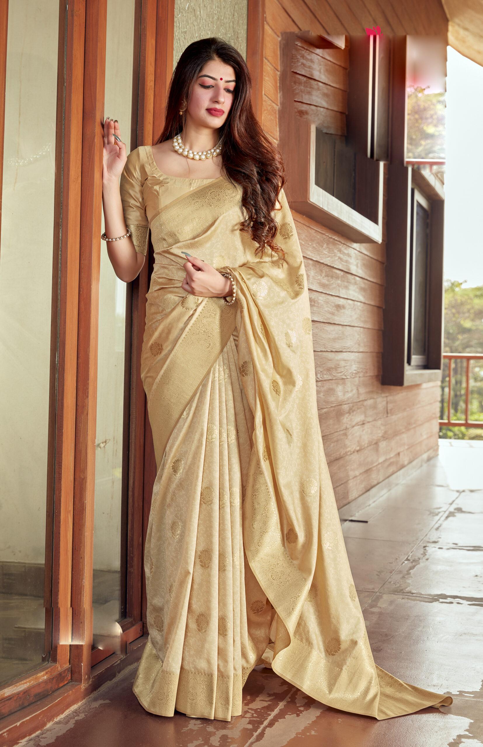 Best Trend Designer Cream Color Latest Blouse Design Silk Saree