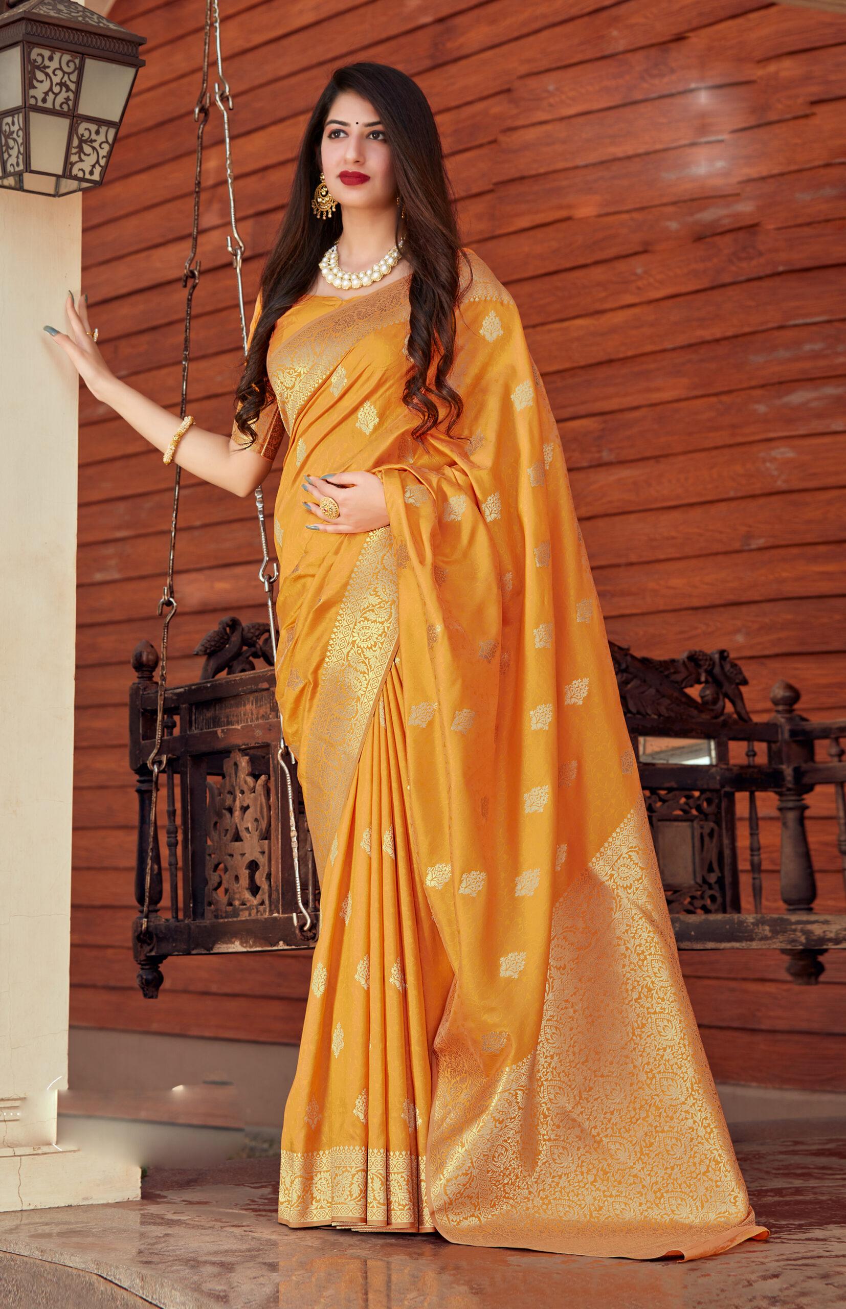 Best Trend Designer Orange Color New Blouse Design Silk Saree