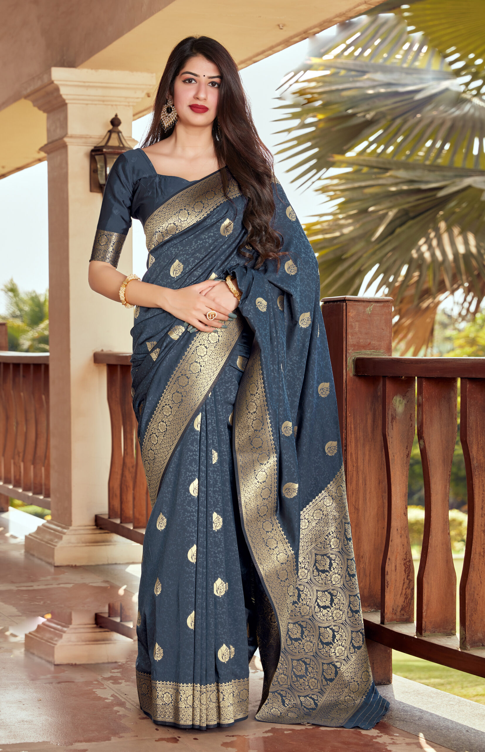 Best Embroidered Grey Color New Blouse Designs For Silk Saree