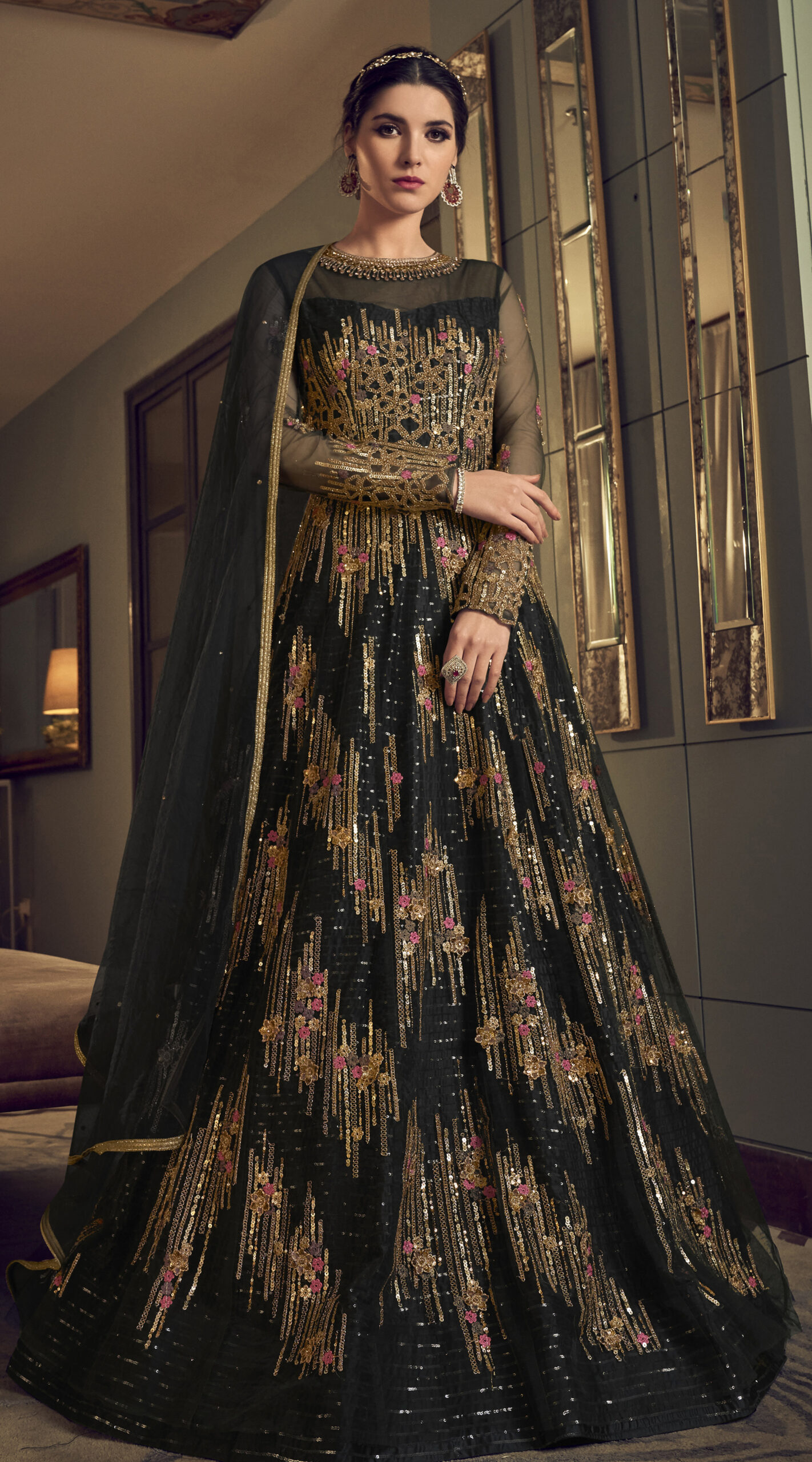 Anarkali Party Wear Black Gown for Wedding
