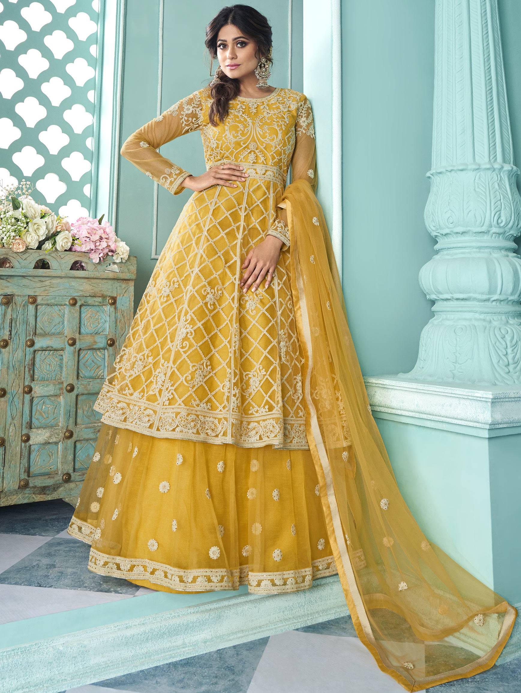 Best Embroidery Work Yellow Color Lehenga Suit With Price