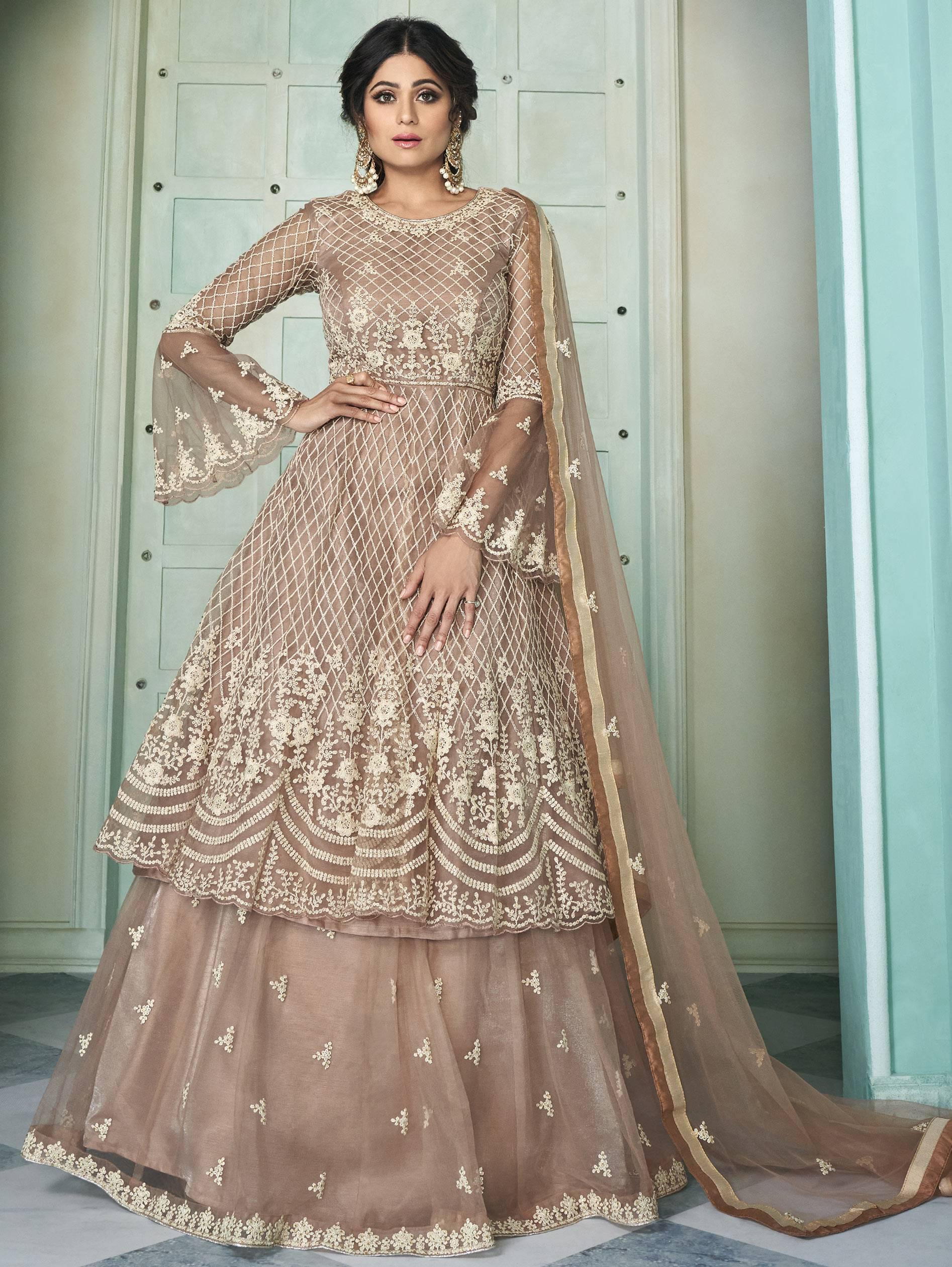 Best Georgette Light Pink Color Lehenga With Anarkali Suit