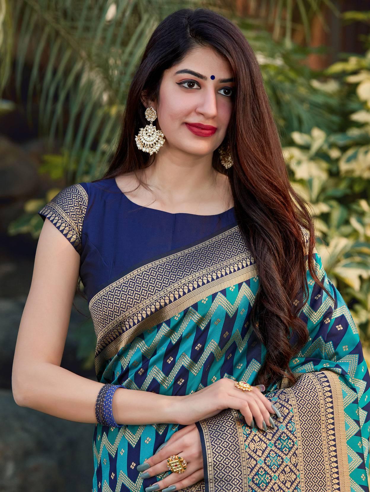 Cutwork Banarasi Silk Royal Blue Saree with Broad Border