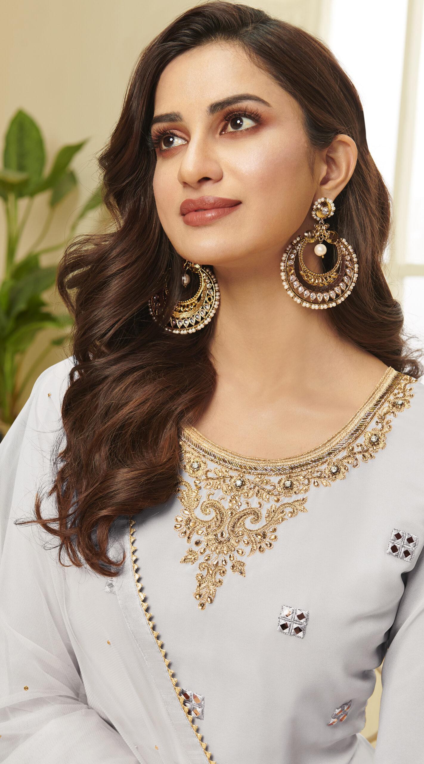 Embroidered Party Wear Grey Georgette Punjabi Suit Design